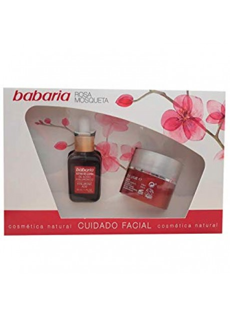 Estuche Babaria ROSA MOSQUETA Crema Facial Antiarrugas 50ml+Sérum Gotas de LLuvia Ácido Hialurónico 30ml