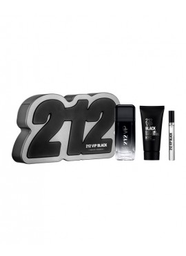 Cofre Carolina Herrera 212 VIP BLACK Men edp 100 ml+Mini edp 10ml+Gel de Ducha 100ml