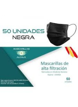 MASCARILLA QUIRÚRGICA NEGRA TIPO IIR Pack 50 uds